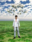 Wolke von glühbirnen hover über mans kopf mit puzzle stück himmel — Stockfoto