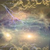 Filamentos nebulosos remolino y se reúnen en el espacio profundo — Foto de Stock