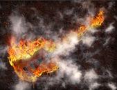 Flaming melting guitar — Stock Photo