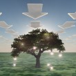 Idea tree with arrow clouds — Stock Photo