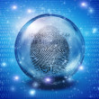 Stock Photo: Fingerprint contained in glass sphere with Id Number
