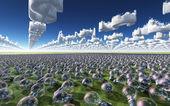 Landscape littered with light bulbs under Dollar symbol sky — Stock Photo