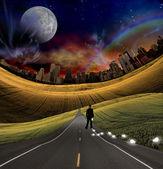 Idea bulb and city road — Stock Photo