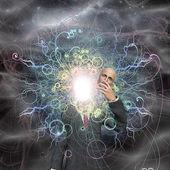 Powereful being reveals true self — Stock Photo