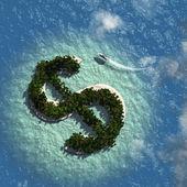 Dollar Sign Island — Stock Photo