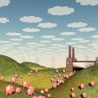 Pigs move like lemmings toward factory - Stock Photo