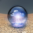 Dry Cracked earth with single cloud in clear container — Stock Photo