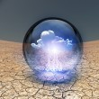Stock Photo: Dry Cracked earth with single cloud in clear container