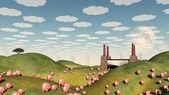 Pigs move like lemmings toward factory — Stock Photo
