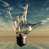 Rock n roll horns gesture lightbulb — Stock Photo