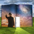 Book with science fiction scene and open doorway of light — Stok fotoğraf