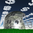 US Currency Helmet on Grass - Stock Photo