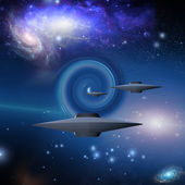 Space Craft Travels Via Wormhole — Stock Photo
