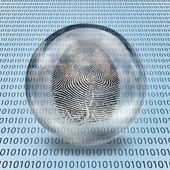 Fingerprint and binary code — Stock Photo