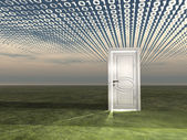 Doorway in landscape with binary streaming — Stock Photo