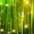 Classic Microphone with Colorful Curtains — Foto de Stock