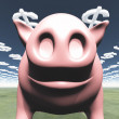 Pig and dollar symbol clouds - Stock Photo