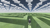Figure inside of maze with arrow clouds above — Stock Photo