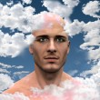Stock Photo: Mwith Head in clouds