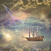 Sailing ship sails through the stars — Stock Photo
