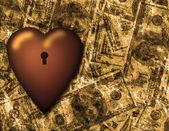 Заблокированные сердца и фон Валюта Сша — Стоковое фото