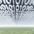Binary code clouds - Stock Photo