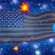 USA Flag of Binary Code with Explosions - Stock Photo