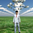Idea bulbs hover above mans head in symbolic landscape — Stockfoto