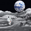 Lunar astronaut views earth rise - Stock Photo