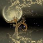 Baum-Mond und Sterne — Stockfoto