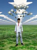 Idea bulbs hover above mans head in symbolic landscape — Stock Photo