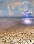 Desert Water with Lightning Cloud — Stock Photo