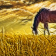 Horse grazing in sun drenched field - Stock Photo