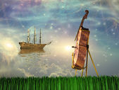 Cello in dream like landscape — Stock Photo