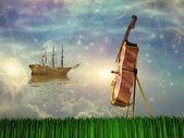 Cello in dream like landscape — Stock Photo