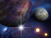 Planet i słońca — Zdjęcie stockowe