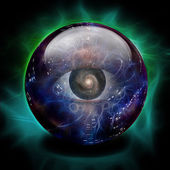 Crystal Ball with Eye and Galaxy — Stock Photo