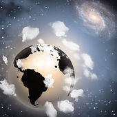 Earth hangs in space — Stock Photo