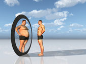 Man sees other self in mirror — Stock Photo