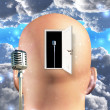 Microphone inside mind — Stock Photo
