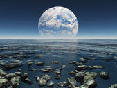 Rocky Watery Landscape with planet or earth with terraformed moo — Stock Photo