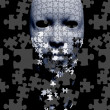 Puzzle falling mask composition — Stock Photo