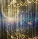 Cosmic Scene on Curtain — Stock Photo