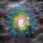 Spiral of time and energy explode from man as a god reveals hims — Stock Photo
