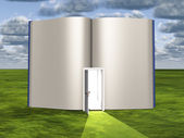Blank pages of open book with doorway emiting light — Stock Photo