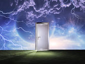 Doorway before cosmic sky — Stock Photo