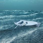 Empty rowboat afloat on binary ocean — Stock Photo
