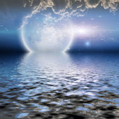 Moonrise over water with clouds — Stock Photo