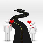 Coppia in amore e strada — Foto Stock