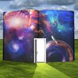Book with science fiction scene and open doorway of light — Stock Photo #28183099